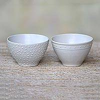 Small ceramic bowls, 'Country Dot' (pair)