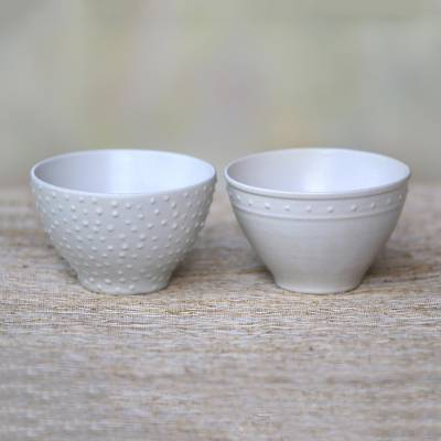 Small ceramic bowls, 'Country Dot' (pair) - Pair of Ceramic Bowls with White Glaze and Dot Motifs