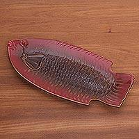 Ceramic platter, 'Red Gourami' - Red Fish-Shaped Ceramic Platter Handmade in Bali