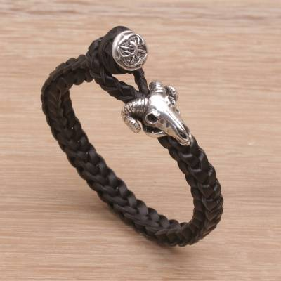 Leather wristband bracelet, 'Gallant Goat' - Leather and Sterling Silver Braided Wristband Bracelet