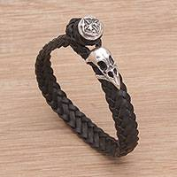Leather wristband bracelet, 'Vulture King'