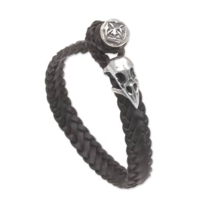 Leather wristband bracelet, 'Vulture King' - Black Leather and Sterling Silver Braided Wristband