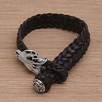 Leather wristband bracelet, 'Dark Alligator' - Black Leather and Sterling Silver Wristband Bracelet