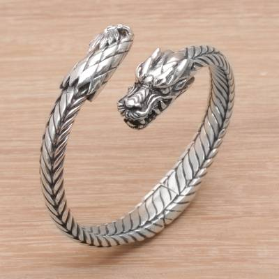 Sterling Silver Cuff Bracelet Dragon Flame From