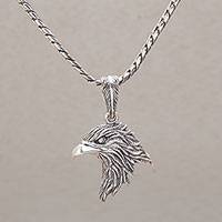 Sterling silver pendant necklace, 'Eagle Splendor' - Handmade Sterling Silver Eagle Pendant Necklace