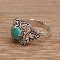 Sterling silver cocktail ring, 'Basket' - Reconstituted Turquoise 925 Sterling Silver Cocktail Ring