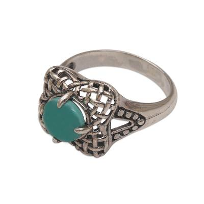 Reconstituted Turquoise 925 Sterling Silver Cocktail Ring