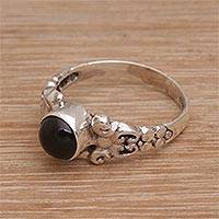Onyx cocktail ring, 'Be Good'