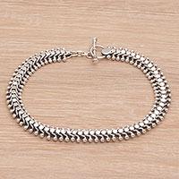 Sterling silver anklet, 'Centipede Crawl' - Handcrafted Balinese Sterling Silver Anklet