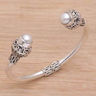 Cultured pearl cuff bracelet, 'Monument' - Ornate Sterling Silver Cuff Bracelet with Cultured Pearls
