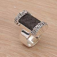 Leather and sterling silver cocktail ring, 'Strength and Grace'