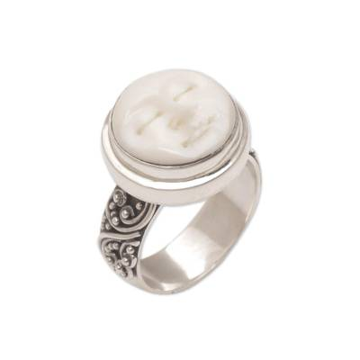Sterling silver cocktail ring, 'Serene Repose' - Hand Carved Bone and Sterling Silver Face Ring