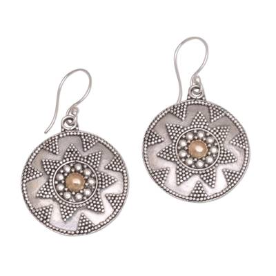 Gold accented sterling silver dangle earrings, 'Guardian Shield' - Gold Accented Sterling Silver Dotted Shield Dangle Earrings