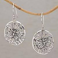 Sterling silver dangle earrings, 'Butterfly's Dilemma' - Butterfly Themed Sterling Silver Dangle Earrings