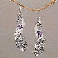 Amethyst dangle earrings, 'Merak' - Amethyst and Sterling Silver Peafowl Dangle Earrings
