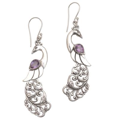 Amethyst dangle earrings, 'Merak' - Amethyst and Sterling Silver Peafowl Dangle Earrings