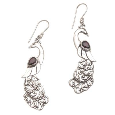 Garnet dangle earrings, 'Merak' - Garnet Earrings with Peacock Theme from Bali
