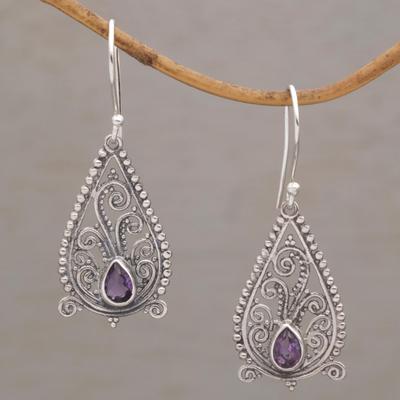 Bali Amethyst Pear Earrings Balinese Sterling Silver