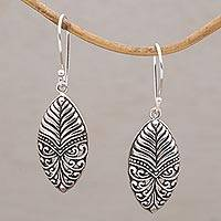 Sterling silver dangle earrings, 'Majesty Leaf' - Handmade Sterling Silver Dangle Earrings