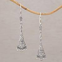 Sterling silver dangle earrings, 'Knowing' - Handmade Sterling Silver Dangle Earrings from Bali