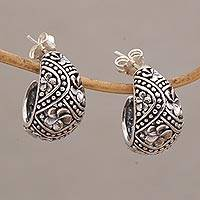 Sterling silver half-hoop earrings, 'Jimbaran Jepun' - Sterling Silver Half Hoop Earrings with Frangipani Motifs