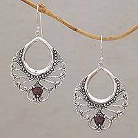 Garnet dangle earrings, 'Victorian Grace'