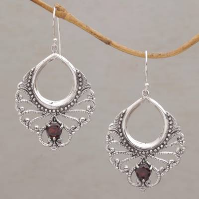 Garnet dangle earrings, 'Victorian Grace' - Vintage Look Sterling Silver and Garnet Earrings