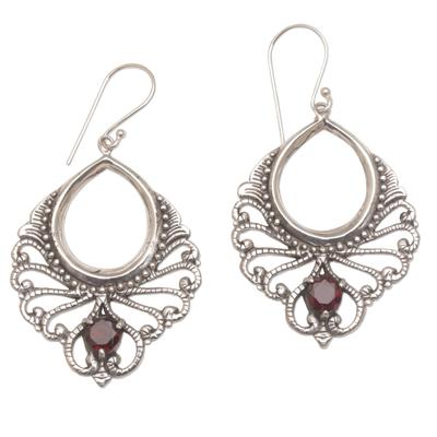 Garnet dangle earrings, 'Victorian Grace' - Vintage Look Sterling Silver and Garnet Earrings