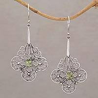 Peridot dangle earrings, 'Days of Grace' - Lacy Peridot and Sterling Silver Earrings