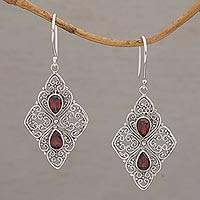 Garnet dangle earrings, 'Besakih Beauty' - Ornate Dangle Earrings with Garnets and Sterling Silver