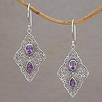 Amethyst dangle earrings, 'Besakih Beauty' - Amethyst and Sterling Silver Dangle Style Earrings