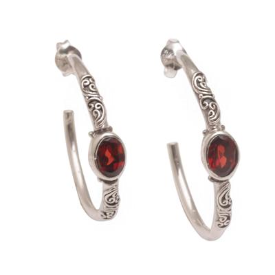 Balinese Style Half-Hoop Earrings with Garnet Stones