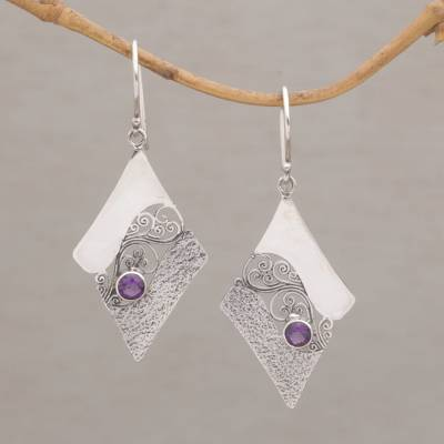 Amethyst dangle earrings, 'Amethyst Whirl' - Artisan Crafted Sterling Silver Amethyst Dangle Earrings