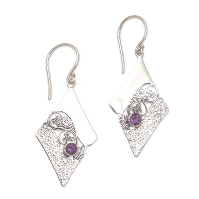 Artisan Crafted Sterling Silver Amethyst Dangle Earring