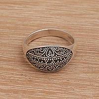 Sterling silver domed ring, 'Intricate Symmetry' - Balinese Dot and Scroll Motif Sterling Silver Dome Ring