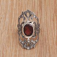 Garnet cocktail ring, 'Queen's Crown' - Garnet Cocktail Ring with Oxidized Sterling Silver