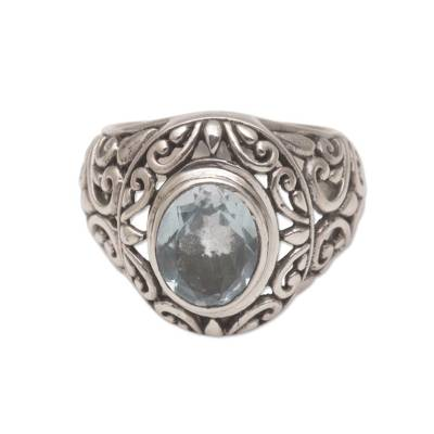 Blue topaz cocktail ring, 'Garden Air' - Blue Topaz and Sterling Silver Floral Motif Cocktail Ring