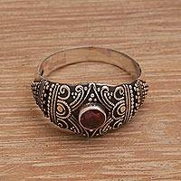 Garnet domed cocktail ring, 'Time and Tradition' - Oxidized Sterling Silver and Garnet Cocktail Ring