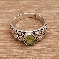 Peridot cocktail ring, 'Green Jasmine Garden' - Peridot and Sterling Silver Floral Motif Cocktail Ring
