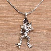 Garnet pendant necklace, 'Leaping Frog' - Artisan Crafted Frog Pendant Necklace with Garnet