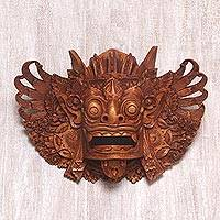 Wood mask, 'Lion Guardian Barong' - Hand Carved Wood Barong Mask Lion Wall Sculpture