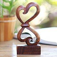 Wood sculpture, 'Heartfelt' - Hand-Carved Balinese Wood Sculpture