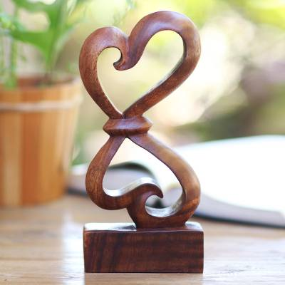 Hand Carved Balinese Wood Sculpture Heartfelt Novica