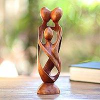Wood statuette, 'Family Spiral' - Hand Crafted Wood Family Statuette from Bali