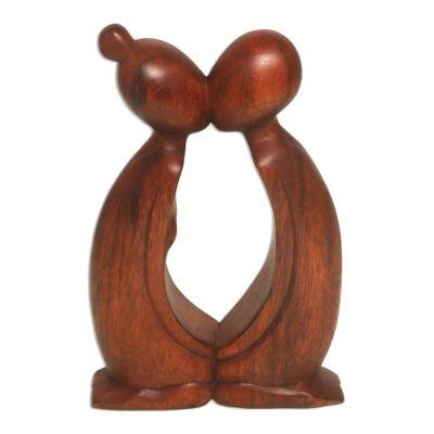Wood statuette, 'Kissing You' - Hand Carved Suar Wood Romantic Statuette from Bali