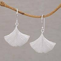 Sterling silver dangle earrings, 'Petalside' - 925 Sterling Silver Flower Petal Dangle Earrings