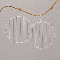 Sterling silver dangle earrings, 'Linescope' - Sterling Silver Vertical Lines Circle Dangle Earrings
