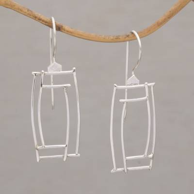 Sterling silver drop earrings, 'Abstract Windows' - Abstract Rectangular Sterling Silver Drop Earrings