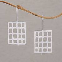 Sterling silver drop earrings, 'Through the Window' - Brushed Sterling Drop Earrings Handmade in Bali