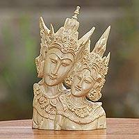 Wood sculpture, 'Rama and Sita Portrait' - Rama and Sita Hand Carved Crocodile Wood Sculpture
